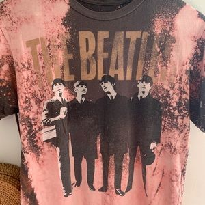 The Beatles Tops - The Beatles Bleached Graphic Band Tee